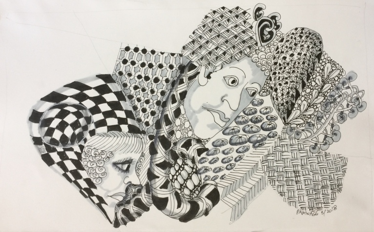 Zentangled Art today, with added faces