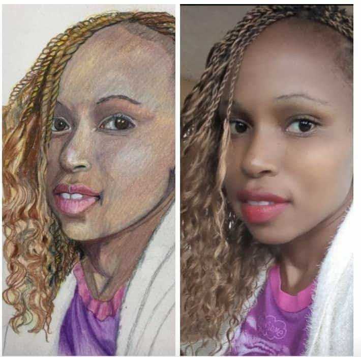 Portrait and photo of Kenyan university student, Florence